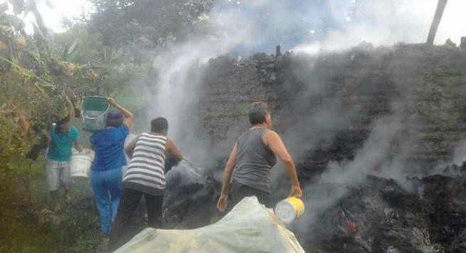 incendio centro ceremonial - pueblo Kankuamo